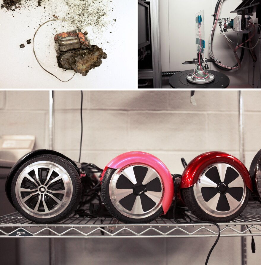 """Researchers at the National Product Testing and Evaluation Center investigate a wide array of products, including lithium-ion batteries (top left) from defective """"hoverboard"""" scooters (bottom). They use a giant CT scanner to make high-resolution 3-D images and analyze products, such as cellphone charging cords (top right)."""