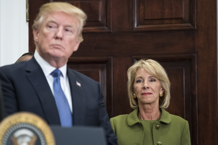 President Donald Trump and Education Secretary Betsy DeVos at the White House