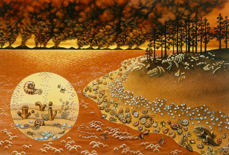 An artist's rendering of the mass extinction of life that occurred toward the end of the Permian Period, about 250 million years ago.