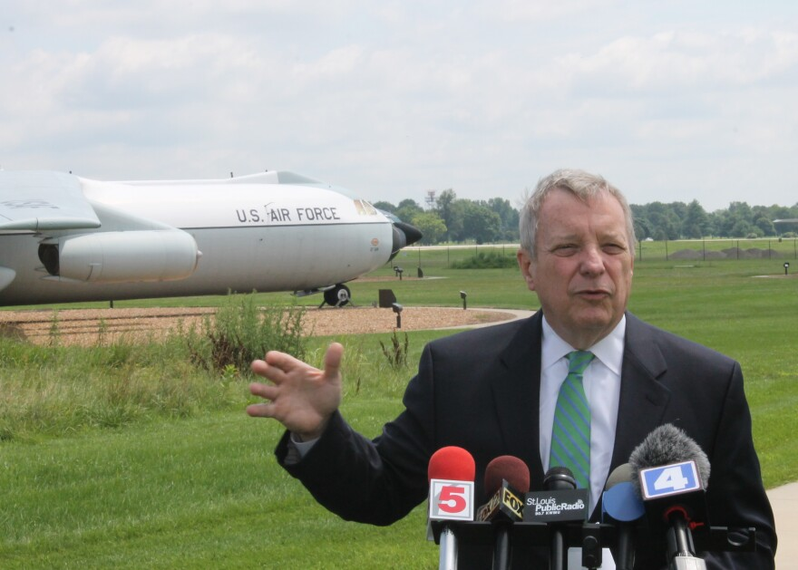 U.S. Senator Dick Durbin says St. Clair County's proposal for the NGA's relocation to Scott Air Force Base is better than those for three Missouri sites.