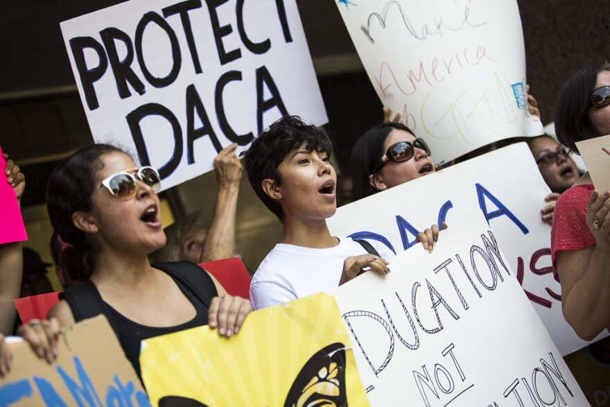 Protesters in favor of the Deferred Action for Childhood Arrivals program at a rally in Austin in 2017.