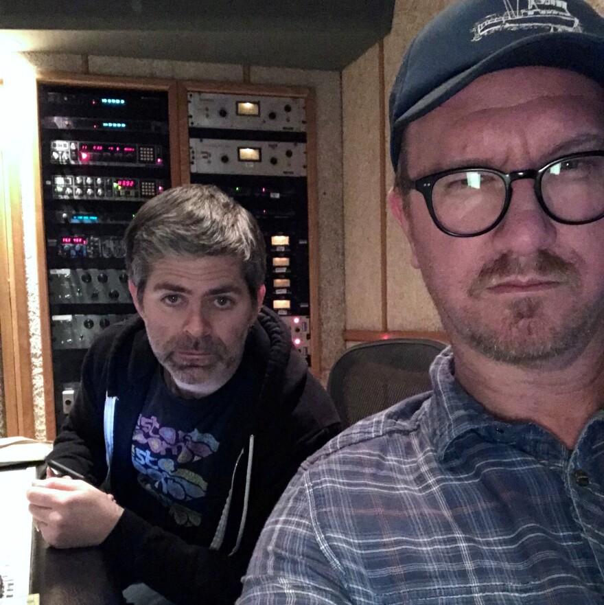 Go Banana Go! members Brian Wecht (left) and Jim Roach at work.