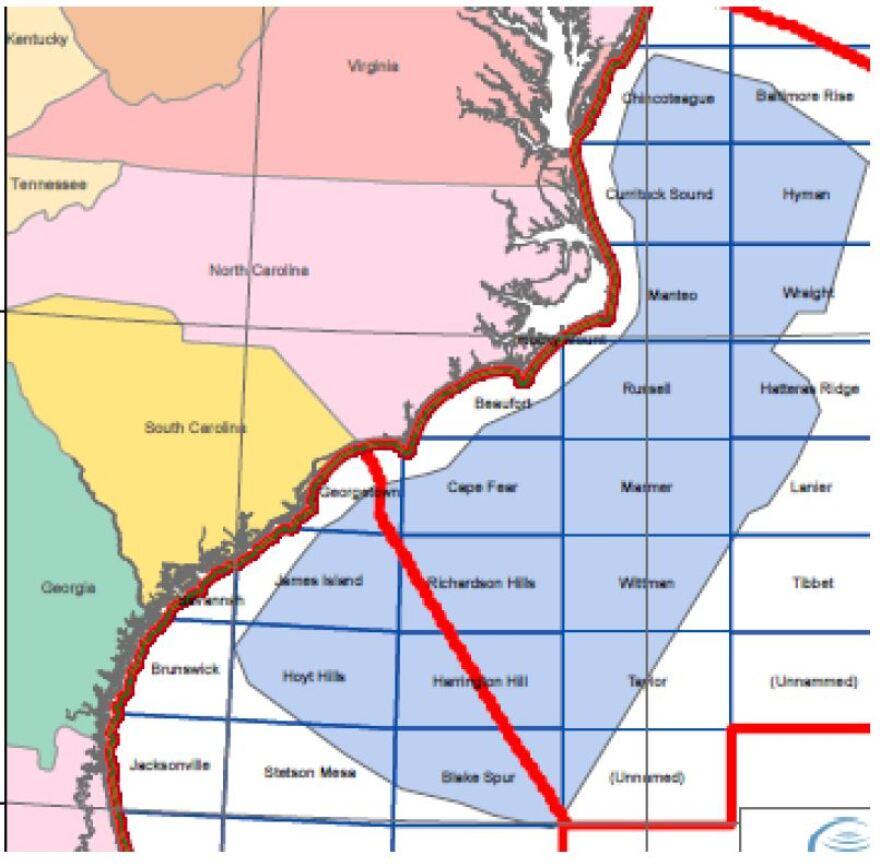 Map shows where WesternGeco plans seismic testing off the North Carolina coast.