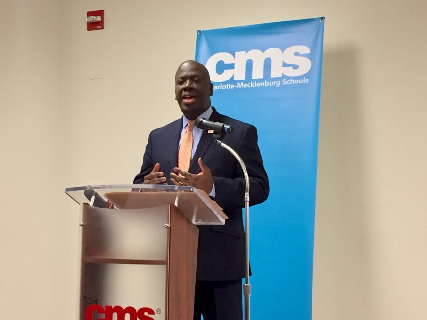 CMS Superintendent Earnest Winston speaks at a news conference in January 2020.