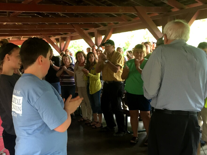 Bernie Sanders speaks to a small crowd in 2015 at a park's picnic shelter near Des Moines, Iowa.
