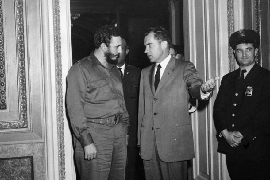 """Fidel Castro and Vice President Richard Nixon after a nearly 2 1/2-hour meeting in Washington on April 19, 1959. Castro described the meeting, scheduled for 15 minutes, as """"very friendly."""" Less than two years later, the U.S. severed ties with Cuba."""