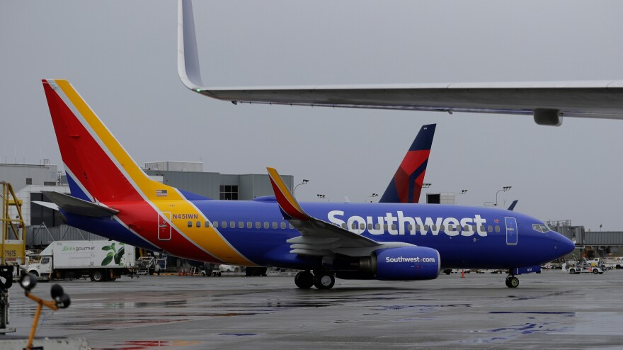 A Southwest plane taxis at the Seattle-Tacoma International Airport in Seattle.
