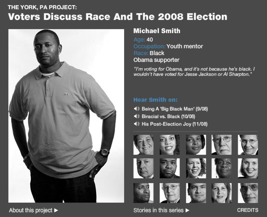 """A screenshot of the York Project interactive. If your browser supports Flash, you can read more about the <a href=""""http://www.npr.org/news/graphics/2008/nov/york/york.html"""" target=""""_blank"""">voters who participated in the series here.</a>"""