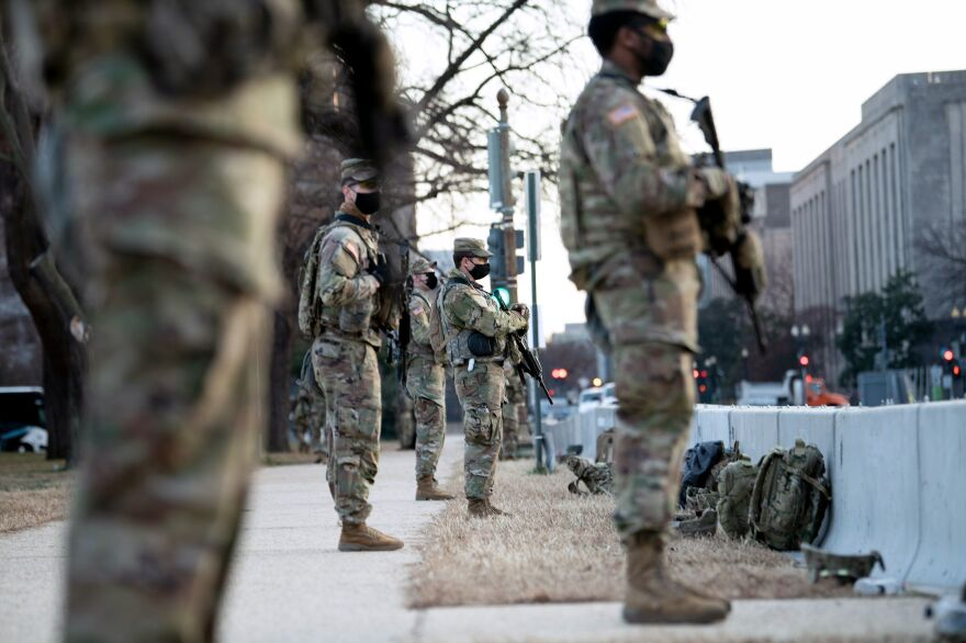 Members of the National Guard surround Capitol Hill on Thursday in preparation for the presidential inauguration on Jan. 20.