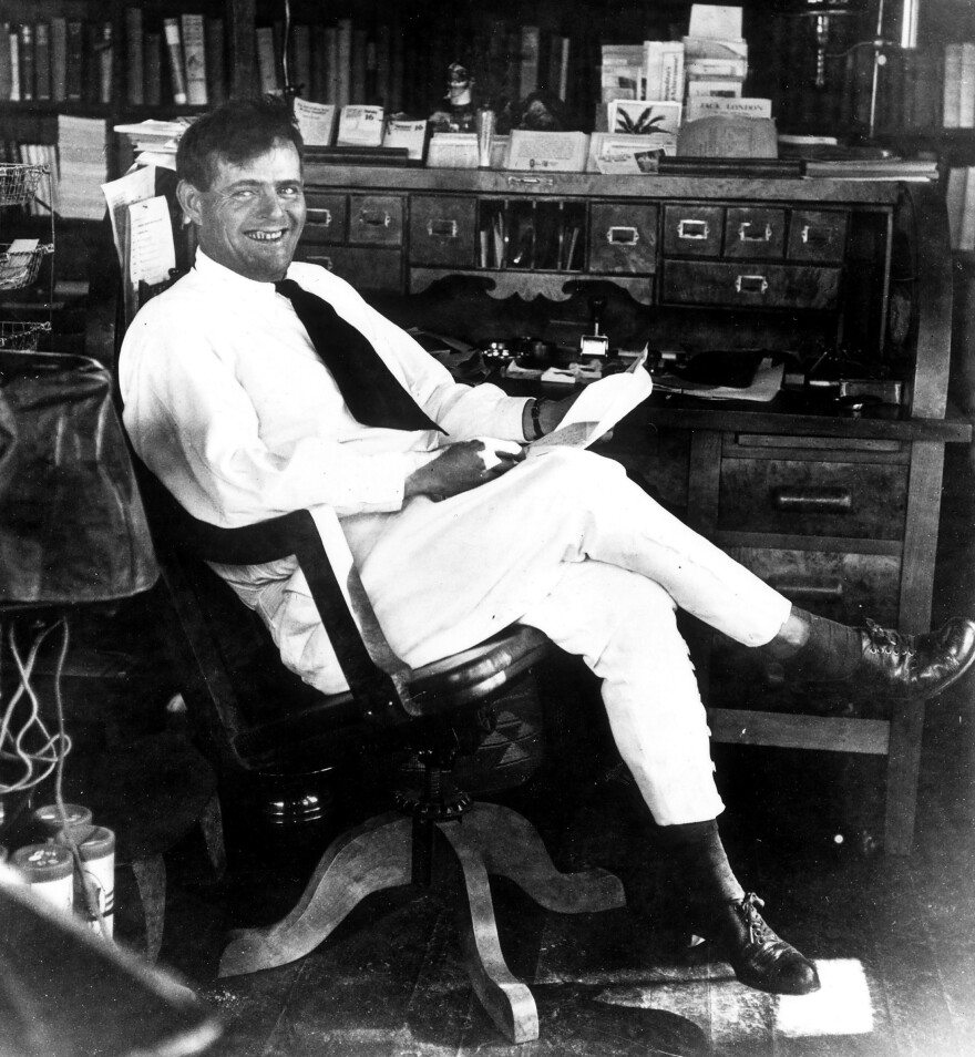 Jack London in the study at his ranch in Glen Ellen, Calif.