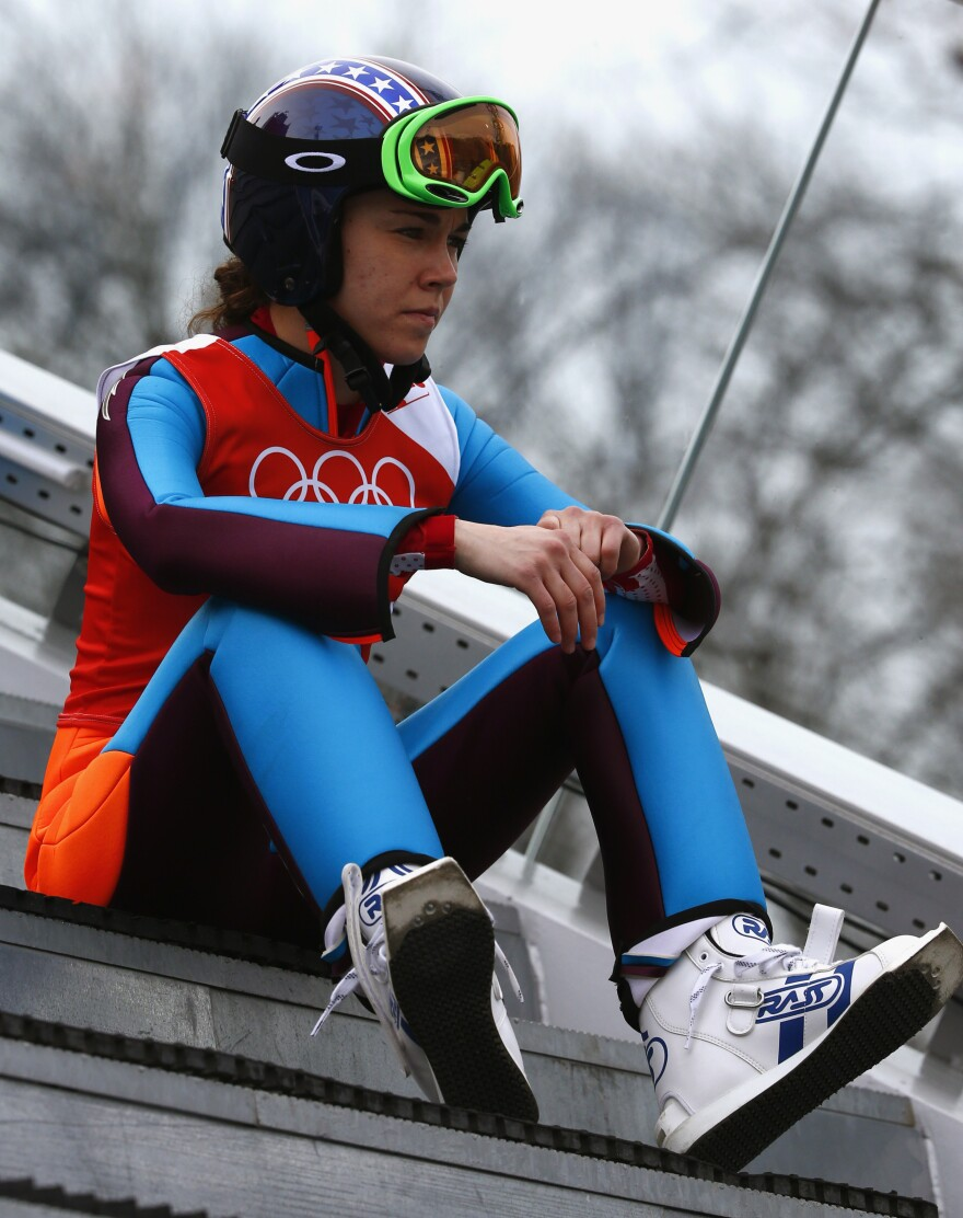 Sarah Hendrickson during a training event in Sochi on Sunday. Hendrickson suffered a devastating knee injury in August.