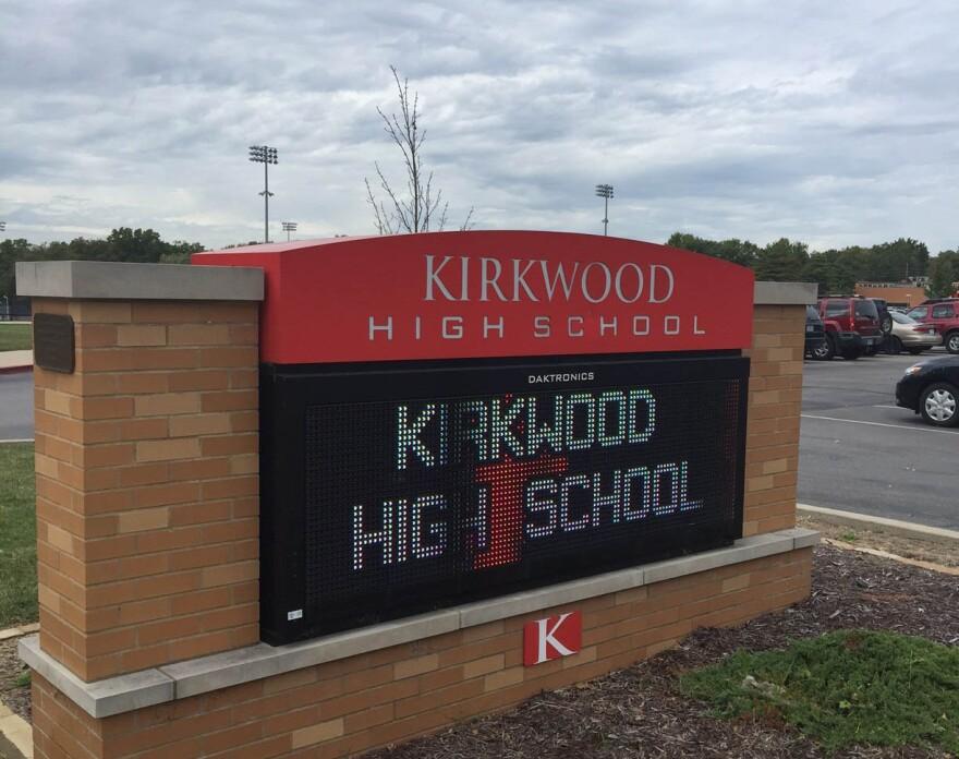 A high school sign.