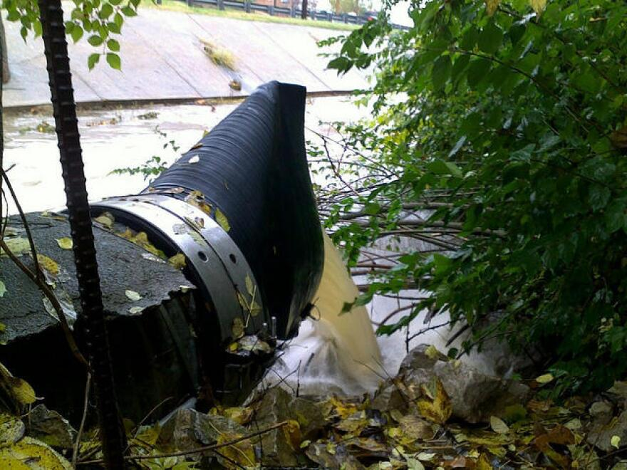 Part of the $4.7 million sewer system upgrade involves removing illegal sewer bypasses, like the one pictured here.