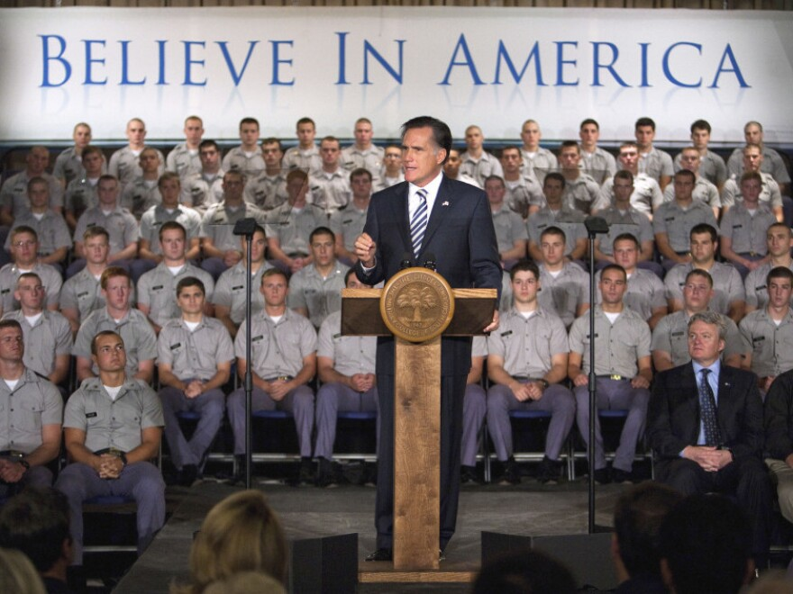 <p>Republican presidential hopeful Mitt Romney speaks to Citadel cadets and supporters on campus Friday in Charleston, S.C. The former Massachusetts governor, known more for his business acumen than his foreign-policy experience, sought to show he has what it takes to be commander in chief. </p>