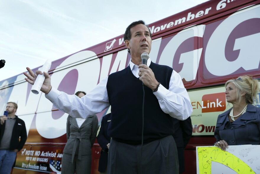 Rick Santorum speaks in Des Moines, Iowa, on Sept. 24, 2012. The Republican announced Wednesday that he is running for president.