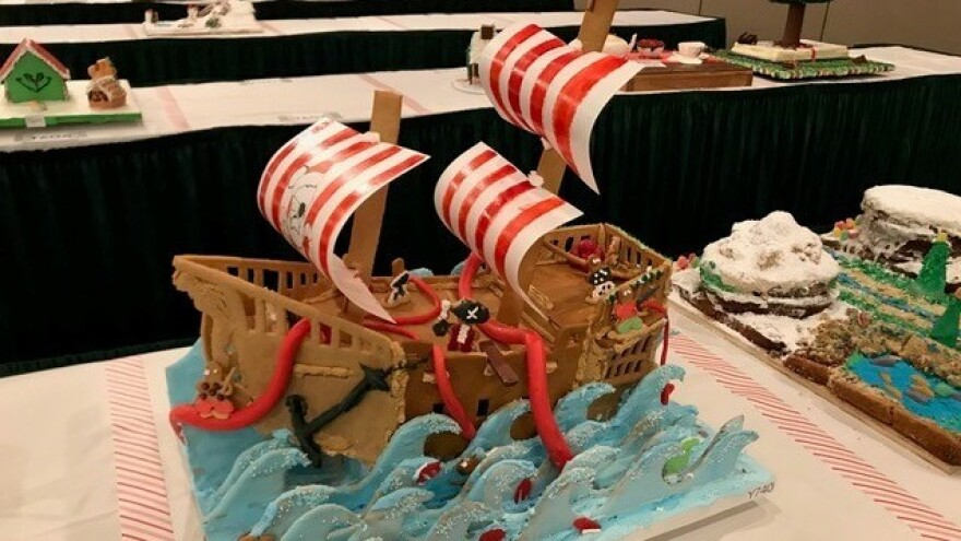 The gingerbread competition is not limited to houses — dragons, pirate ships and bonsai trees are also welcome.