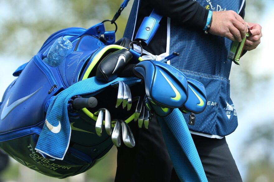 The Nike golf clubs and bag of Denmark's Thorbjorn Olesen during a tournament in Ireland. (Andrew Redington/Getty Images)