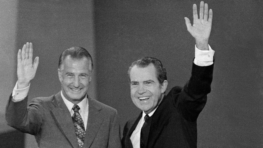 Then-President Richard Nixon and Vice President Spiro Agnew wave to the crowd at the Republican National Convention in 1972. Agnew would resign a year later.