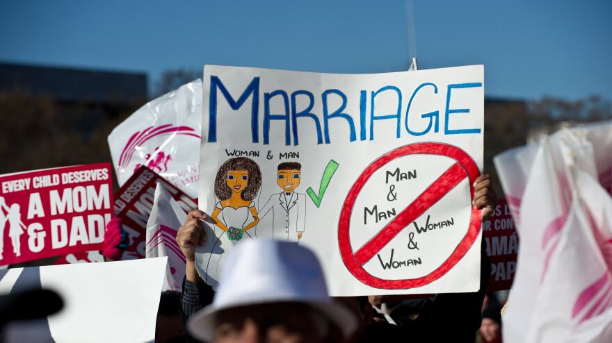 Opponents of same-sex marriage participate in the March for Marriage in Washington, D.C., on March 26, as the Supreme Court hears arguments on California's Proposition 8 ban on same-sex marriage.