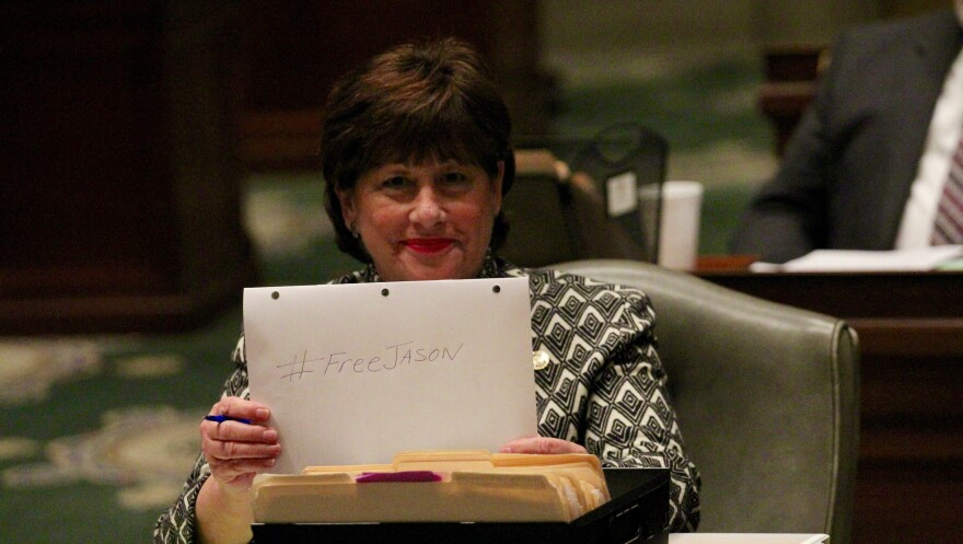 Sen. Jill Schupp, D-Creve Coeur, show moral support for St. Louis Public Radio reporter Jason Rosenbaum on Monday, February 15, 2016. Rosenbaum got trapped in a Capitol elevator for about 20 minutes.