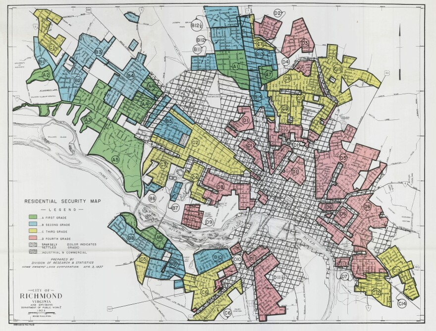 A federal government map of Richmond in the 1930's outlined neighborhoods considered risky (red) for mortgage lenders to offer loans to.