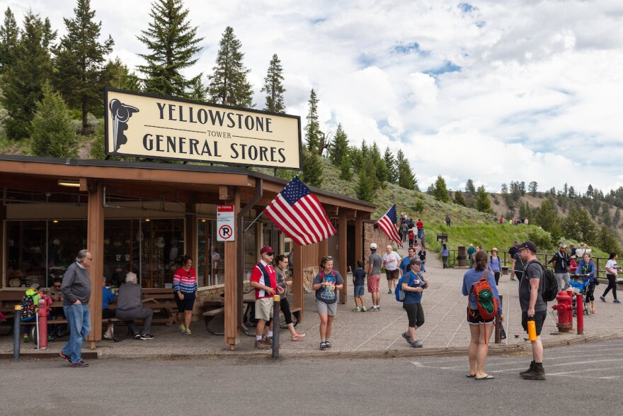 Tourists visit the general store at Tower Fall, Yellowstone National Park, June 2018.