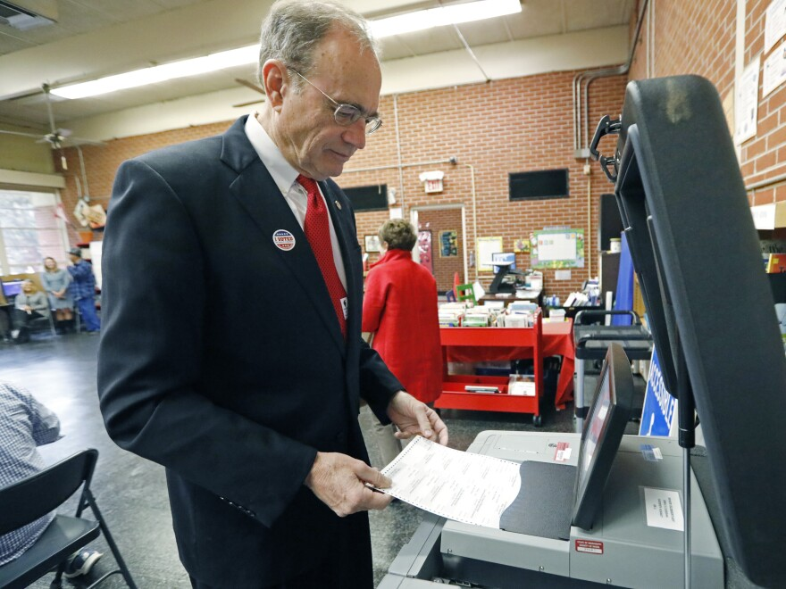 Then-Secretary of State Delbert Hosemann electronically cast his ballot in Jackson, Miss., on Nov. 5, 2019.