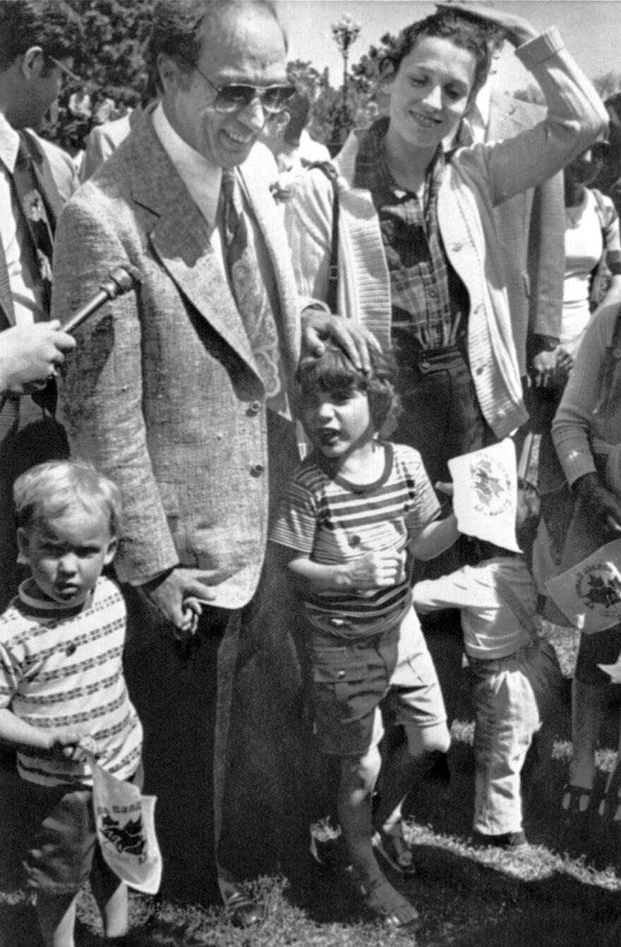 Justin Trudeau's father, Prime Minister Pierre Elliott Trudeau — shown here with wife Margaret, Justin (center) and siblings Sacha (left) and Michel on May 20, 1977 — was a charismatic but divisive figure in Canadian politics.