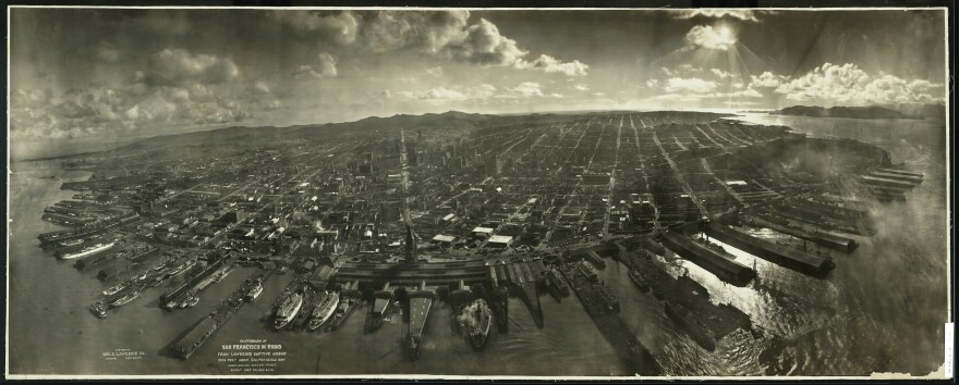Ruins of San Francisco, 2,000 feet above San Francisco Bay overlooking the waterfront in 1906.