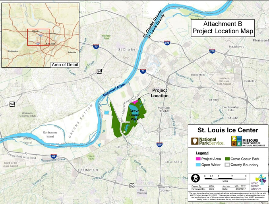 A map showing where the proposed St. Louis Ice Center would be located at Creve Coeur Lake Memorial Park.