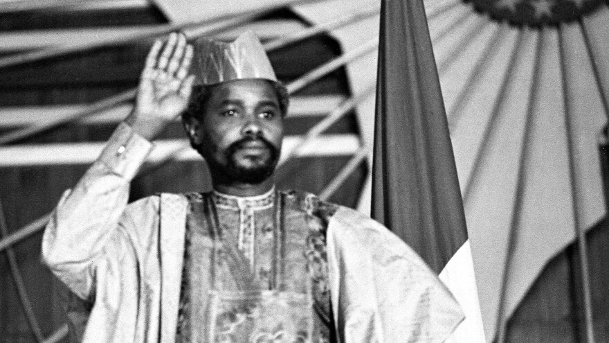 Habre is shown at a press conference in N'Djamena, the Chadian capital, in 1983, a year after he seized power in a coup. His eight-year rule was marked by human rights abuses.