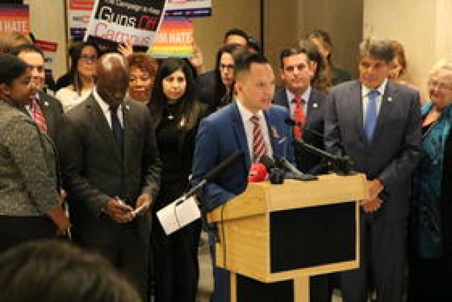 Rep. Carlos Guillermo Smith, flanked by his Democratic colleagues and advocates, outlines Florida Democrats' priorities for preventing gun violence this legislative session.
