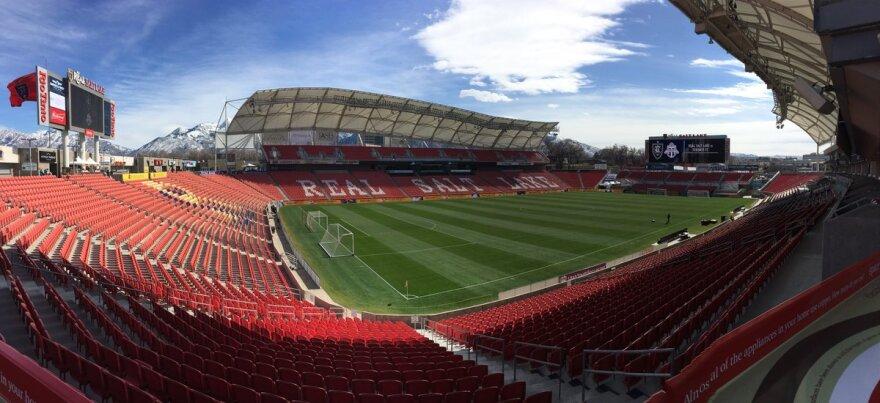 Photo of an empty soccer stadium
