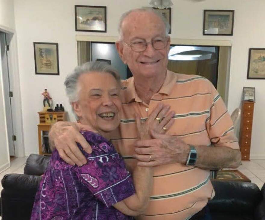 Lillan Bloodworth (left) with her late husband John Bloodworth, at their home in Gulf Breeze, Fla. Lillian, now 92, donated 23 gallons of blood over five decades.