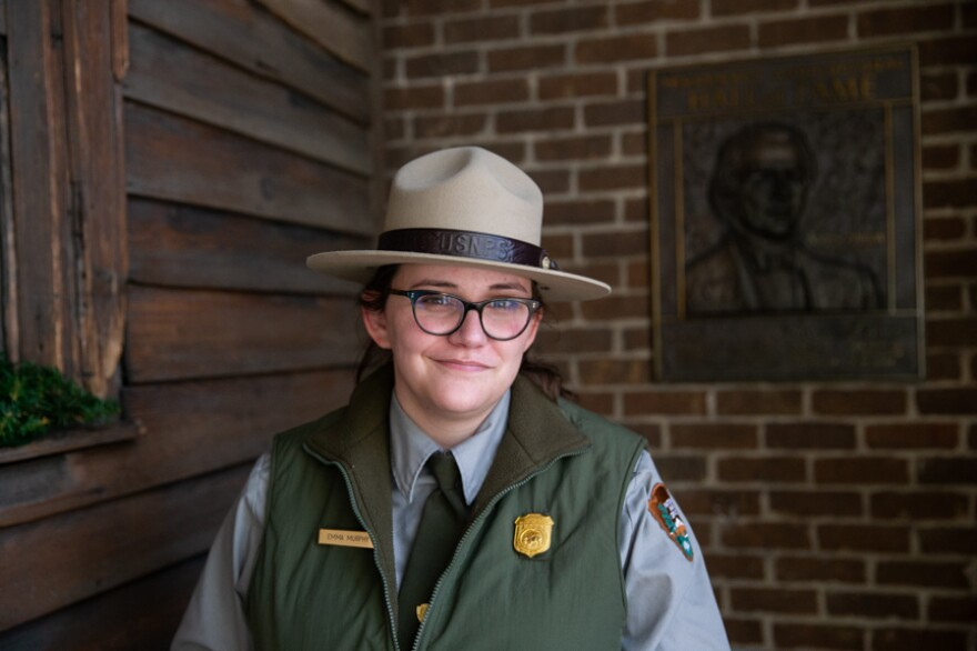 National Park Service ranger Emma Murphy poses for a portrait at the Andrew Johnson National Historic Site in Greeneville, Tenn.