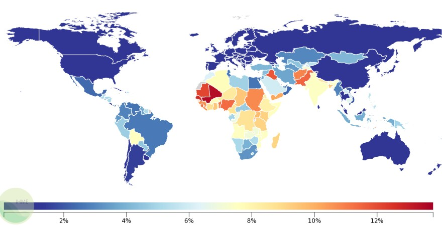 Percentage of deaths each year due to neonatal disorders around the globe.