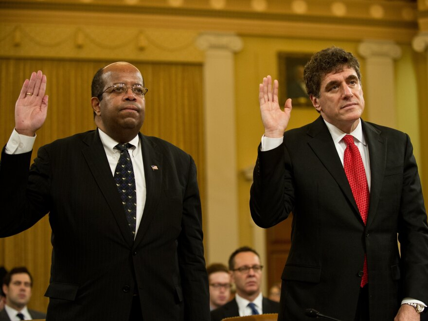 Outgoing acting Internal Revenue Service Commissioner Steve Miller (right) and Treasury Inspector General for Tax Administration J. Russell George are sworn in before a full House Ways and Means Committee hearing in May.