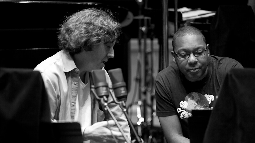 Director Dan Pritzker (left) and Wynton Marsalis discussing the music of <em>Bolden</em>.