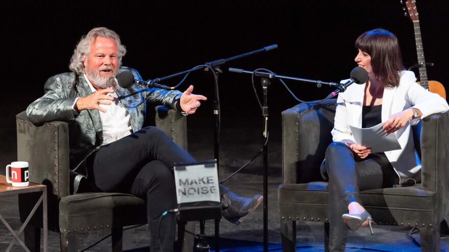 Robert Earl Keen plays game with Ophira Eisenberg on <em>Ask Me Another</em> at the Aztec Theatre in San Antonio, Texas.
