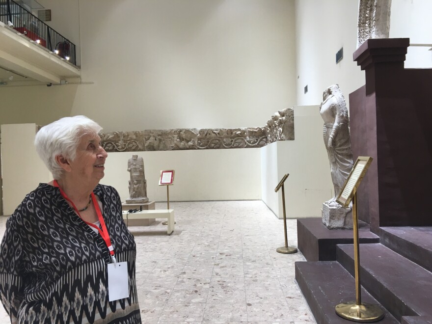 Lamia al-Gailani in the Hatra wing of the National Museum of Iraq in Baghdad. The ancient city of Hatra, where Roman, Persian and Greek influences mingled, was one of her favorite sites.