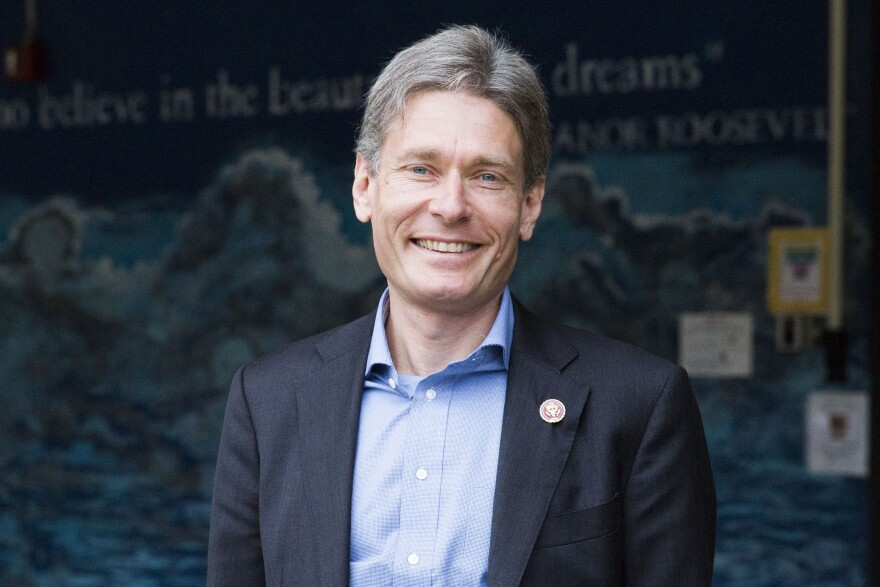 Congressman Tom Malinowski poses outside of Warren Middle School after holding a town hall for sixth-grade students last week.