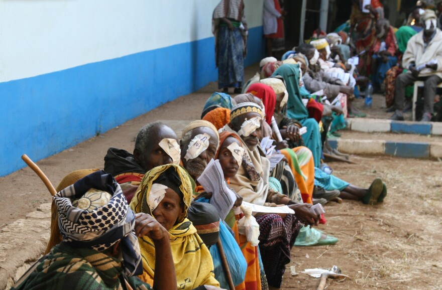 These patients underwent surgery as part of a campaign run by Himalayan Cataract Project at the Bisidimo Hospital in Ethiopia. The bandages are removed the day after the procedure. Surgeons performed more than 1,600 cataract surgeries during a six-day event in December.