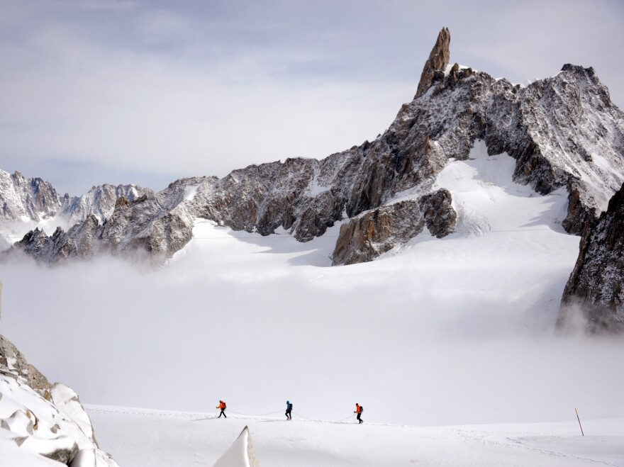 What treasures lie buried here? Three climbers traversed part of the Mont Blanc massif earlier this month.