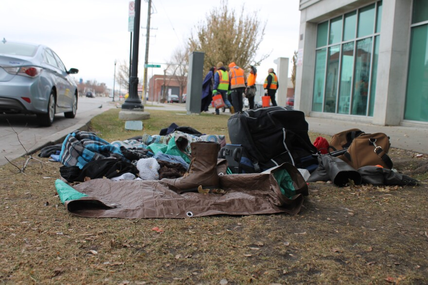 A photo of a homeless encampment.