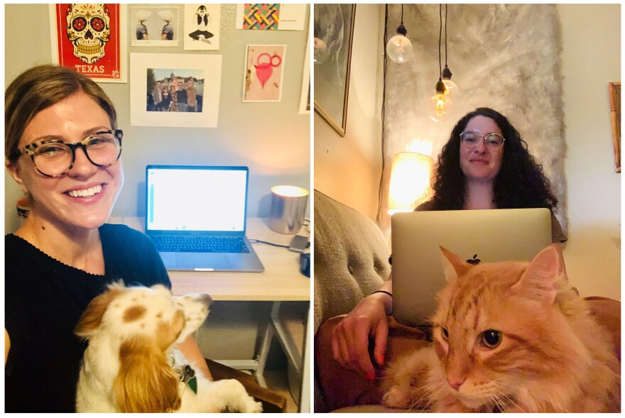 Education reporter Claire McInerny has been working out of her home office in her bedroom, while news anchor Nadia Hamdan rotates going into the studio.