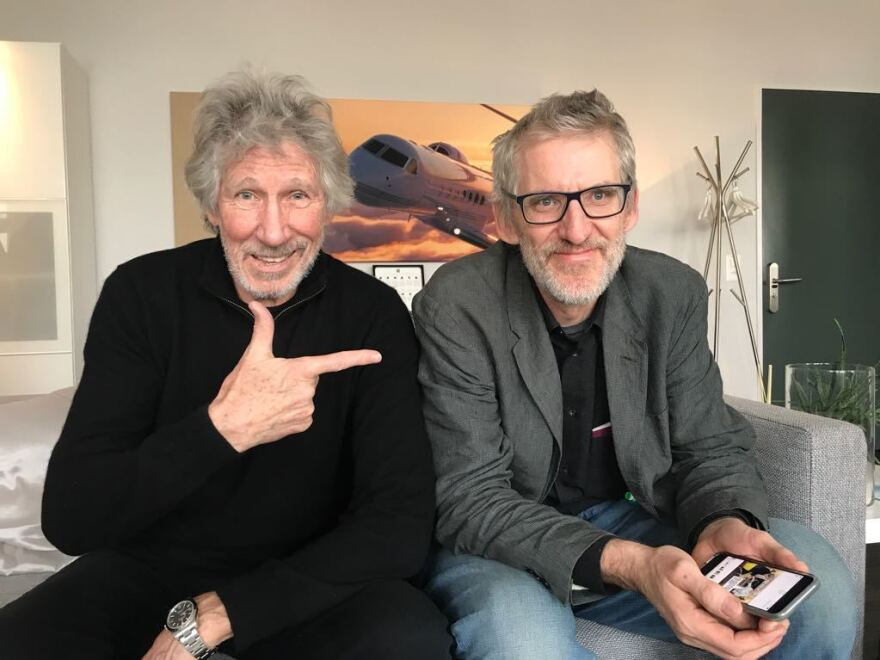 Roger Waters (left), a founding member of Pink Floyd, sits with Clive Stafford Smith, his longtime friend who heads the nonprofit human rights group Reprieve. The organization is known for its efforts to help people wrongly detained and to close the Guantánamo Bay prison.