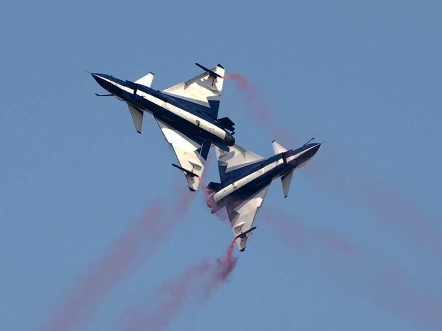 Two Chinese J-10 aircraft cross each other during a military exercise in 2015.