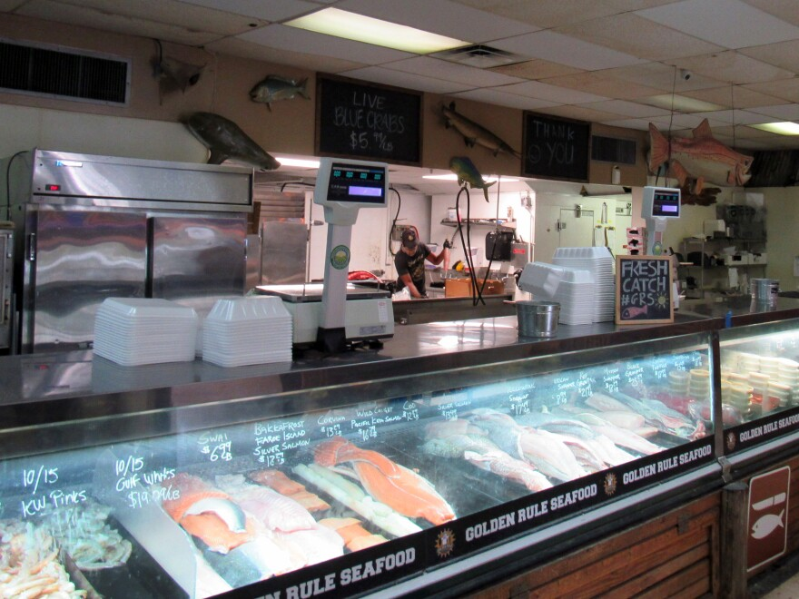 Front of a fish counter