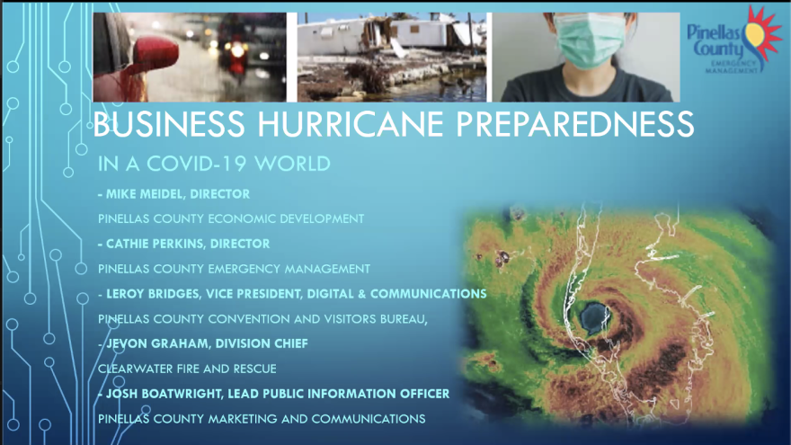 List of people on meeting to prepare for businesses for hurricanes. Includes picture of hurricane and pictures from preparedness kit on top.