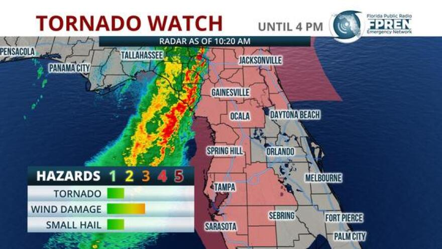 There's a risk of severe storms across Florida today, including a tornado watch through 4 p.m.